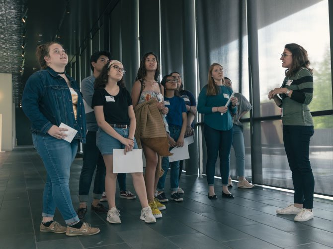 Students on a tour of the museum